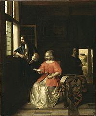 Femme lisant une lettre et un homme à une fenêtre