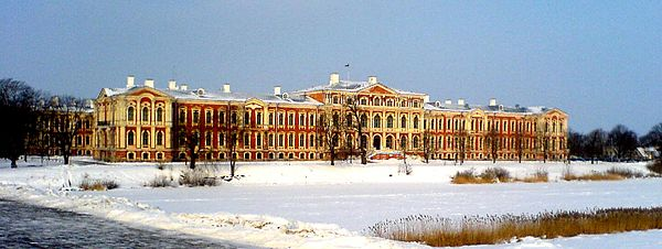 Jelgava Palace, Louis XVIII's residence from 1798 to 1801, and from 1804 to 1807 Pils Jelgava.jpg
