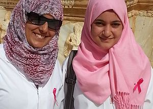 Global Pink Hijab Day - Medical students in Sabratha, Libya, campaigning for breast cancer awareness, 2012
