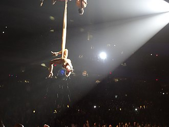 """Glitter in the Air - Pink performing """"Glitter in the Air"""" at her The Truth About Love Tour, similar to her 52nd Grammy Awards performance."""