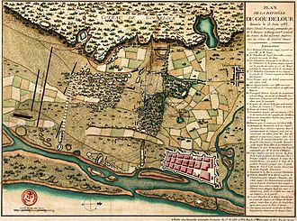 Siege of Cuddalore - Map in French of the battle ground Cuddalore, 13 June 1783.