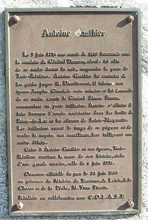 Battle of Trois-Rivières - Plaque commemorating Antoine Gautier's role in the battle.