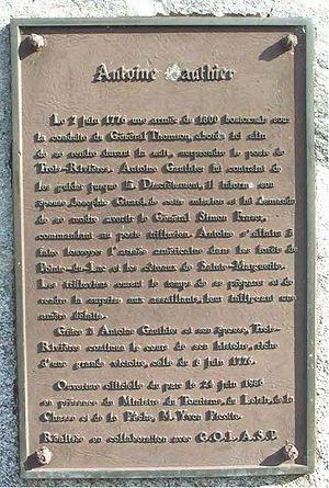 Battle of Trois-Rivières - Plaque commemorating Antoine Gautier's role in the battle.