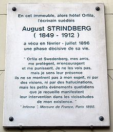 Plaque August Strindberg, 62 rue d'Assas, Paris 6.jpg