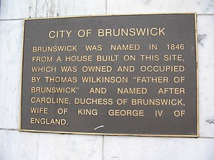 Brunswick, Victoria - Plaque marking site of Thomas Wilkinson's house