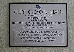 Photo of Guy Gibson white plaque