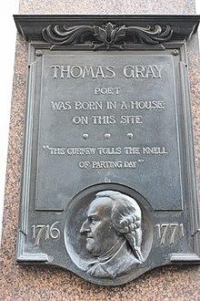 Plaque marking Thomas Gray's birthplace at 39 Cornhill, London (Source: Wikimedia)