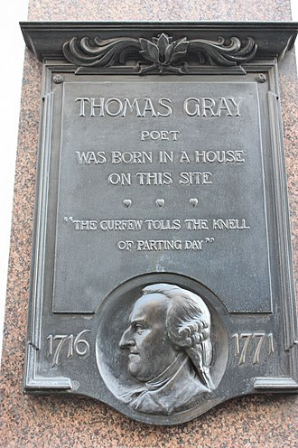 Thomas Gray - Plaque marking Thomas Gray's birthplace at 39 Cornhill, London