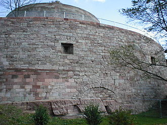 Roundel (fortification) - View of the outer west roundel of the  Plassenburg with gunports and the inner west roundel positioned within it.