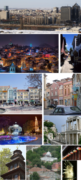 From top, left to right: Hills of Plovdiv • Ancient theatre • Ancient stadium • Historical Museum • Hisar Kapia • Ethnographic Museum • Tsar Simeon's garden •