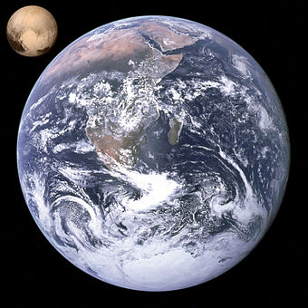 Pluto and Earth, volume comparison