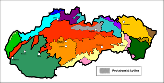 Podtatranská kotlina - Podtatranská kotlina within the Geomorphological division of Slovakia