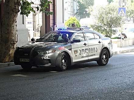 A Ford Taurus Police Interceptor operated by the Georgian Patrol Police. Police car in Tbilisi (69).jpg