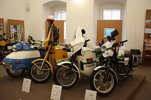 Czech Police Museum - Historical police motocycles in the Czech Police Museum.