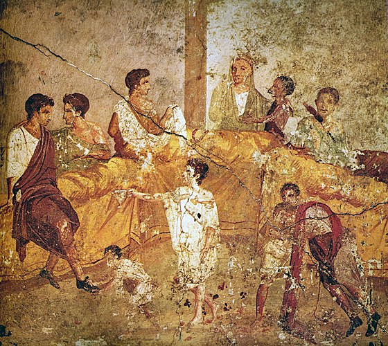 A multigenerational banquet depicted on a wall painting from Pompeii (1st century AD) Pompeii family feast painting Naples.jpg