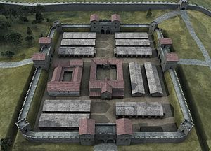 Pons Aelius - An artist's impression of the fort layout