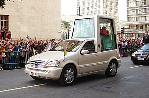 Religion in Brazil - Pope Benedict XVI and Popemobile during the official visit in São Paulo.