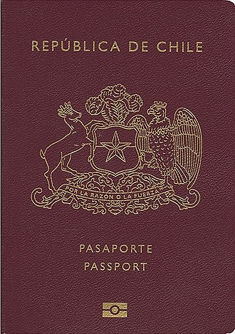 Chilean passport - Front cover of a contemporary Chilean biometric passport.