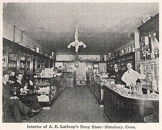 Simsbury, Connecticut - A. E. Lathrop's Drug Store, about 1905