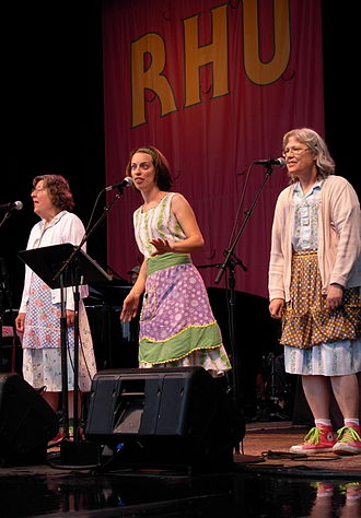 A Prairie Home Companion - The Rhubarb Sisters singing during taping of the show
