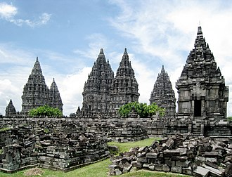 Candi of Indonesia - Prambanan temple compound. The towering candi prasada (temple towers) are believed to represent the cosmic Mount Meru, the abode of gods.