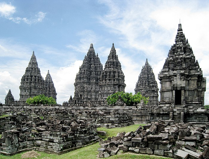 Prambanan temple complex is the largest Hindu temple complex in Indonesia. The three largest temple is dedicated to Shiva in the centre, Brahma on the left, and Vishnu on the right. On the front of each temples are the temples of vahanas (vehicle of gods). There is originally hundreds of prevara temples.
