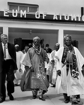 Sir Ahmadu Bello (far right), and Muhammadu Sanusi I in 1960 leaving the Atomic Museum Oak Ridge in Tennessee. Premier of Nigeria Sir Ahmadu Bello far right leaving the Atomic Museum Oak Ridge (7196110822).jpg