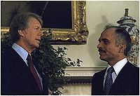 President Carter with king Hussein of Jordan 1977.jpg