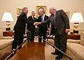 President George W. Bush and Vice President Dick Cheney thank Senate Democratic leaders Harry Reid and Richard Durbin for coming to the White House.jpg