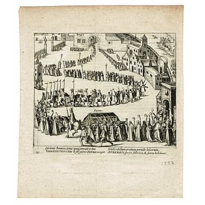 Alexander Farnese, Duke of Parma - Arrival of the funeral procession of the Duke of Parma in Brussels 1592. Print from 'The Wars of Nassau' by Willem Baudartius.