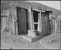 Privies. The privy with some siding is still used. Kentucky Straight Creek Coal Company, Belva Mine, abandoned after... - NARA - 541203.tif