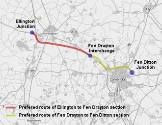 A14 road (England) - A14 Ellington to Fen Ditton
