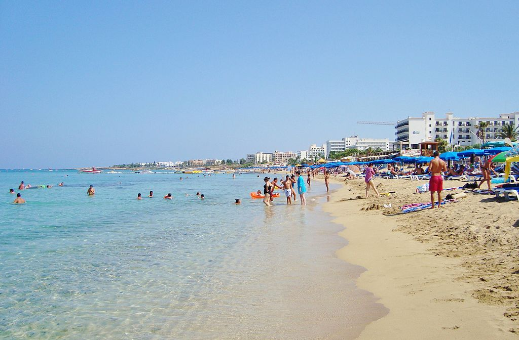 Protaras tropical famous beach at Paralimni holiday destination in Republic of Cyprus