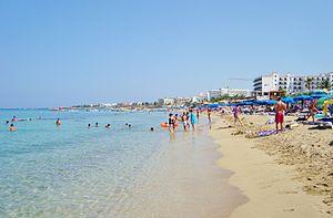 Paralimni - Protaras beach in summer