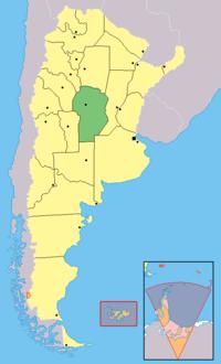 Provincia de Córdoba, en el centro de Argentina. Alta Gracia está 39 km al suroeste de la capital