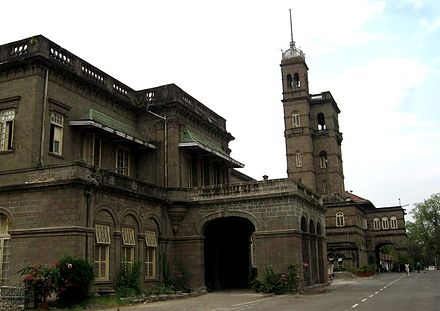 Savitribai Phule Pune University headquarters. During the British era, the building served as the Monsoon residence for the Governor of the Bombay Presidency. Pune university small.jpg