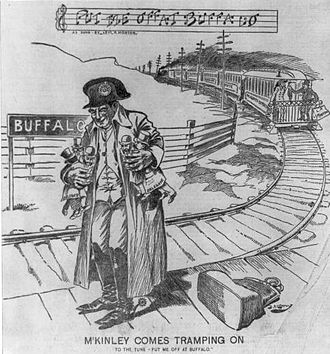 "Put Me Off at Buffalo - 1896 political cartoon showing future U.S. president William McKinley in Buffalo with delegates in hand, with a musical caption of ""Put Me Off at Buffalo""."