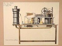 Pyréolophore, moteur à explosion mis au point par Nicéphore et Claudé Niépce et breveté en 1807.