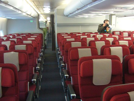 Qantas international economy cabin on the Airbus A380. Qantas Economy Cabin seats.jpg