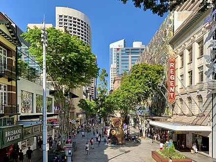 The Queen Street Mall, Queensland's largest pedestrian mall Queen Street Mall, Brisbane in Jan 2020.jpg