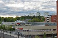 Vy över nordvästra Rågsved med sitt hästskoformade centrum