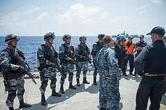 People's Liberation Army Navy Marine Corps - PLAN sailors and marines with U.S. sailors during RIMPAC 2016.