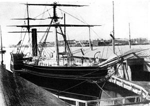 Cunard Line - ''Europa'' of 1848 (1850 GRT). This is one of the earliest known photos of an Atlantic steamship