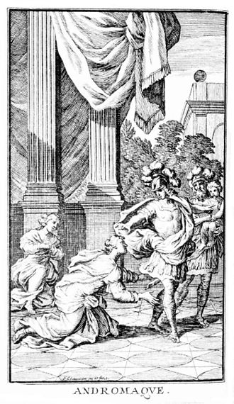 Andromaque - Frontispiece depicting Act III, scene 6, published in Paris in 1676