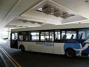 Radisson Blu Edwardian Heathrow Hotel - Hotel Hopper bus in the hotel porch connecting it to the airport just minutes away