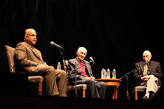 Jack Kevorkian - Jack Kevorkian answering questions at University of California, Los Angeles (UCLA) with lawyer Mayer Morganroth (right) and former Foreign Minister of Armenia, Raffi Hovannisian (left)