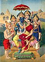 Rama and Sita, Hanuman, and Rama's three brothers Lakshmana, Bharata, and Shatrughna