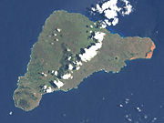 View of Easter Island from space, 2001. The Poike peninsula is on the right.