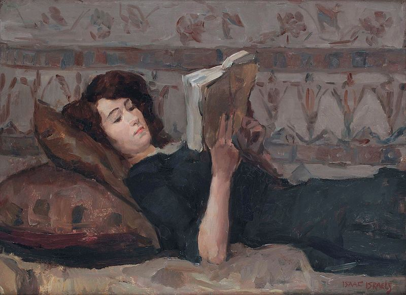 Reading woman on a couch, by Isaac Israels.jpg