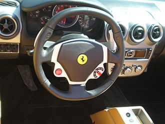 Semi-automatic transmission - Steering wheel of Ferrari F430 with paddle shifters